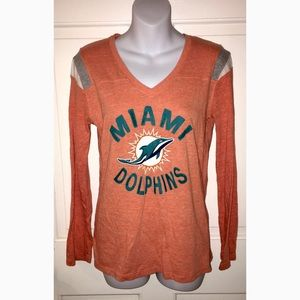 Miami Dolphins NFL V-Neck Long Sleeve Shirt M